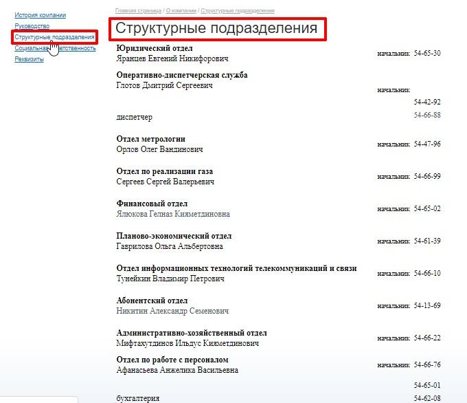Контакты руководителей структурных подразделений и служб «Газпром межрегионгаз Чебоксары»