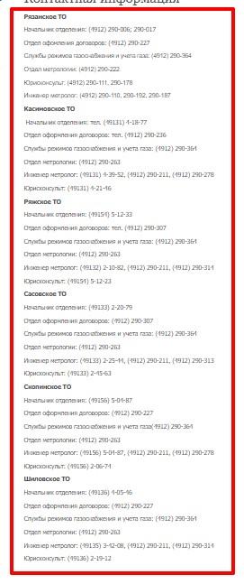 Контакты руководства и подразделений территориальных отделений