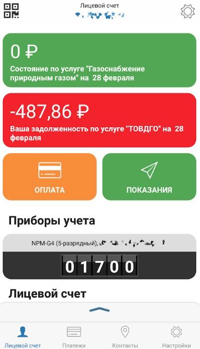 Главное окно приложения «Мой Газ»