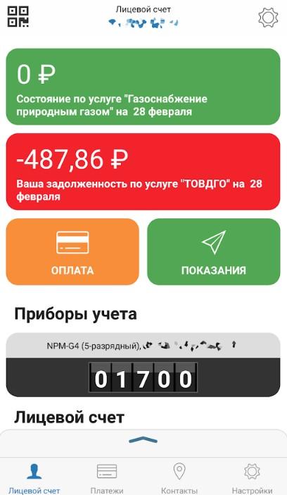 Главное окно мобильного приложения